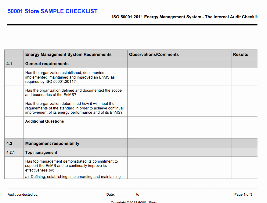 Internal Audit Checklist Template Beautiful iso Internal Auditor Checklist Store