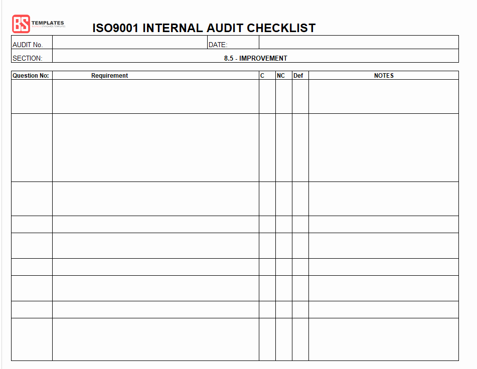 Internal Audit Checklist Template Elegant 15 Internal Audit Checklist Templates Samples Examples