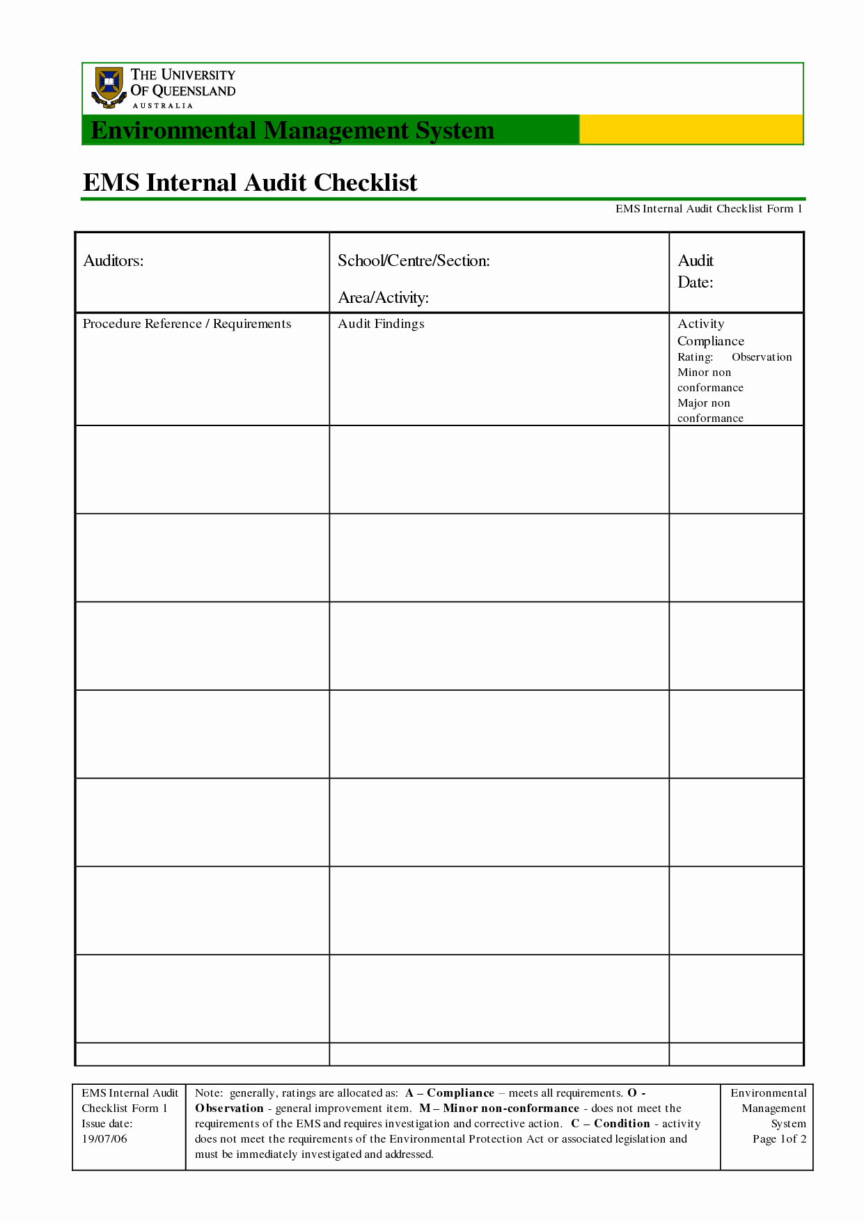 Internal Audit Checklist Template New Best Ems Internal Audit Checklist form Template with Table