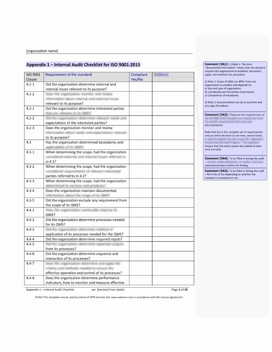 Internal Audit Checklist Template New iso 9001 Audit Checklist What It is How It's Used and why