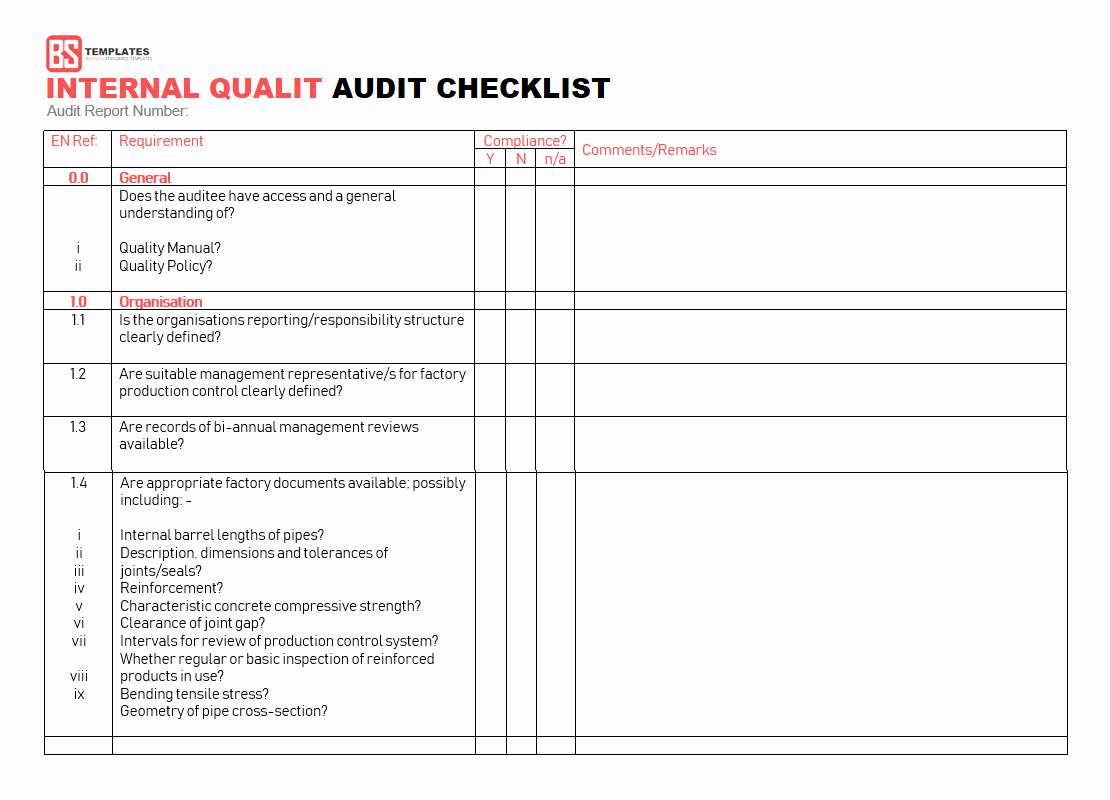 Internal Audit Checklist Template Unique 15 Internal Audit Checklist Templates Samples Examples