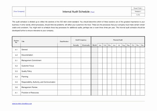 Internal Audit Planning Template Best Of 27 Of Internal Audit Schedule Template Excel