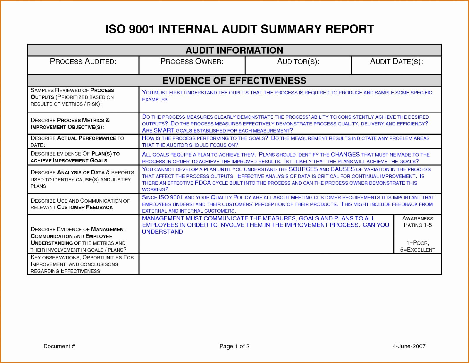 Internal Audit Report Template Awesome Internal Audit Report Sample