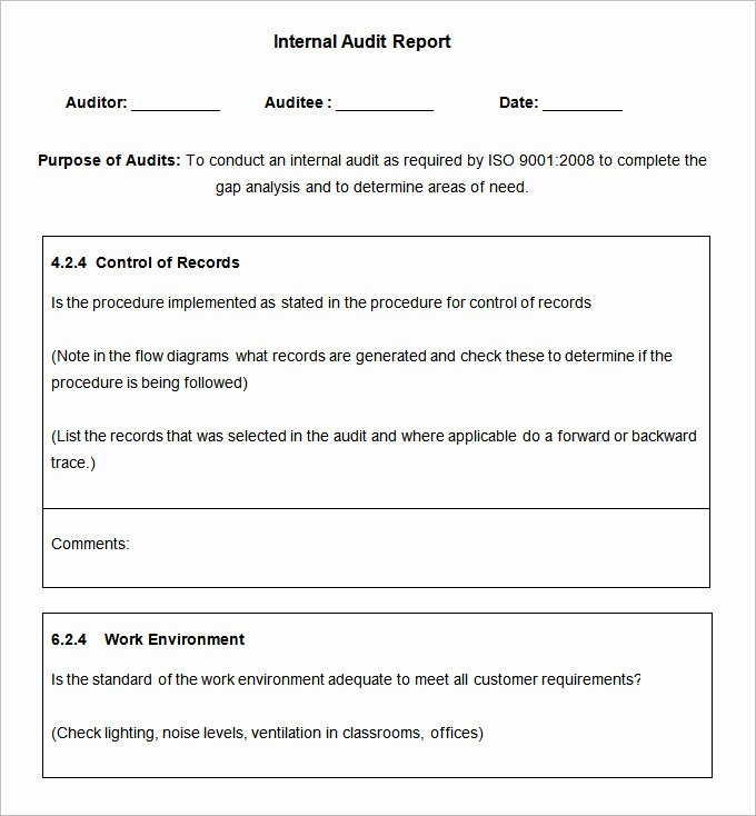 Internal Audit Report Template Fresh 19 Internal Audit Report Templates Free Sample Example