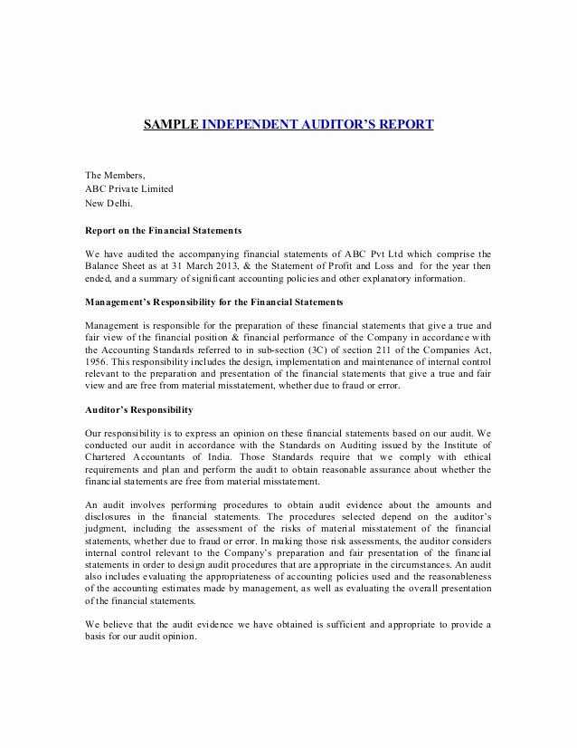 Internal Audit Report Template Inspirational Sample Independent Auditors Report