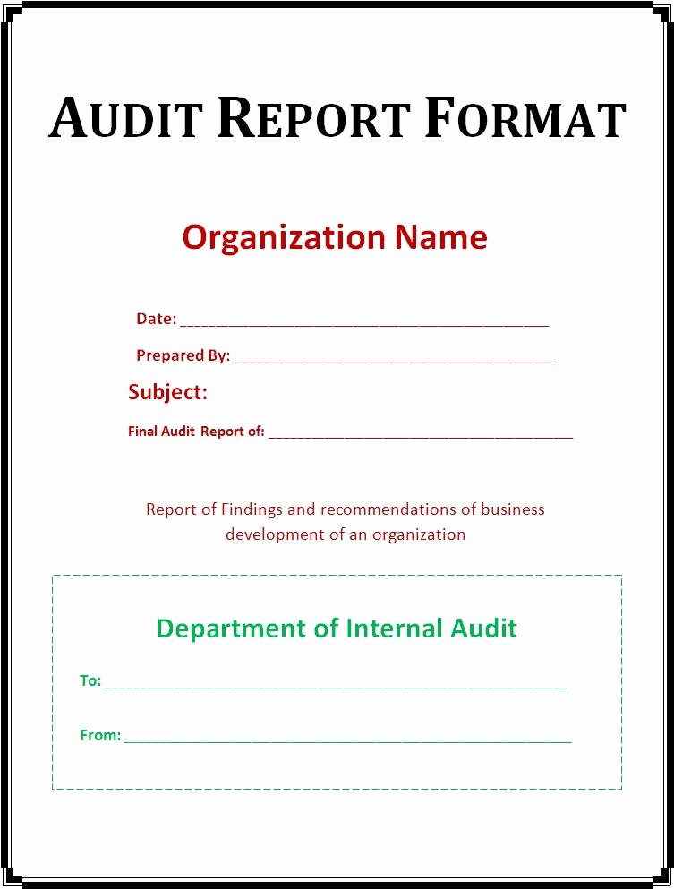 Internal Audit Report Template Lovely 37 Brilliant Audit Report format Examples Thogati