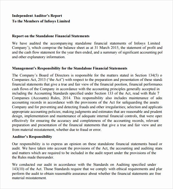 Internal Audit Report Template Unique Sample Audit Report 12 Documents In Pdf Word