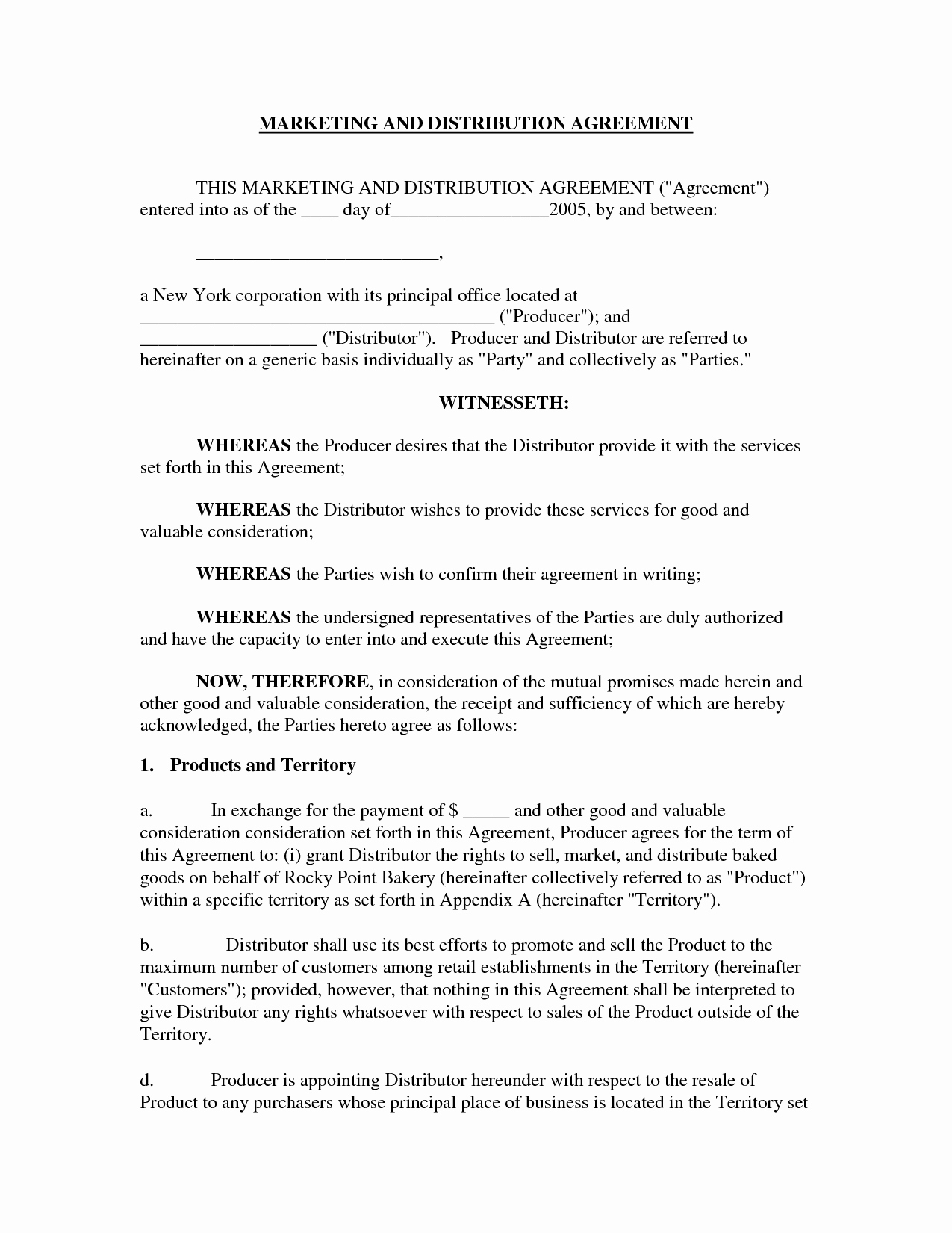 International Distribution Agreement Template Unique 10 Best Of Sample Distributor Agreement Sample