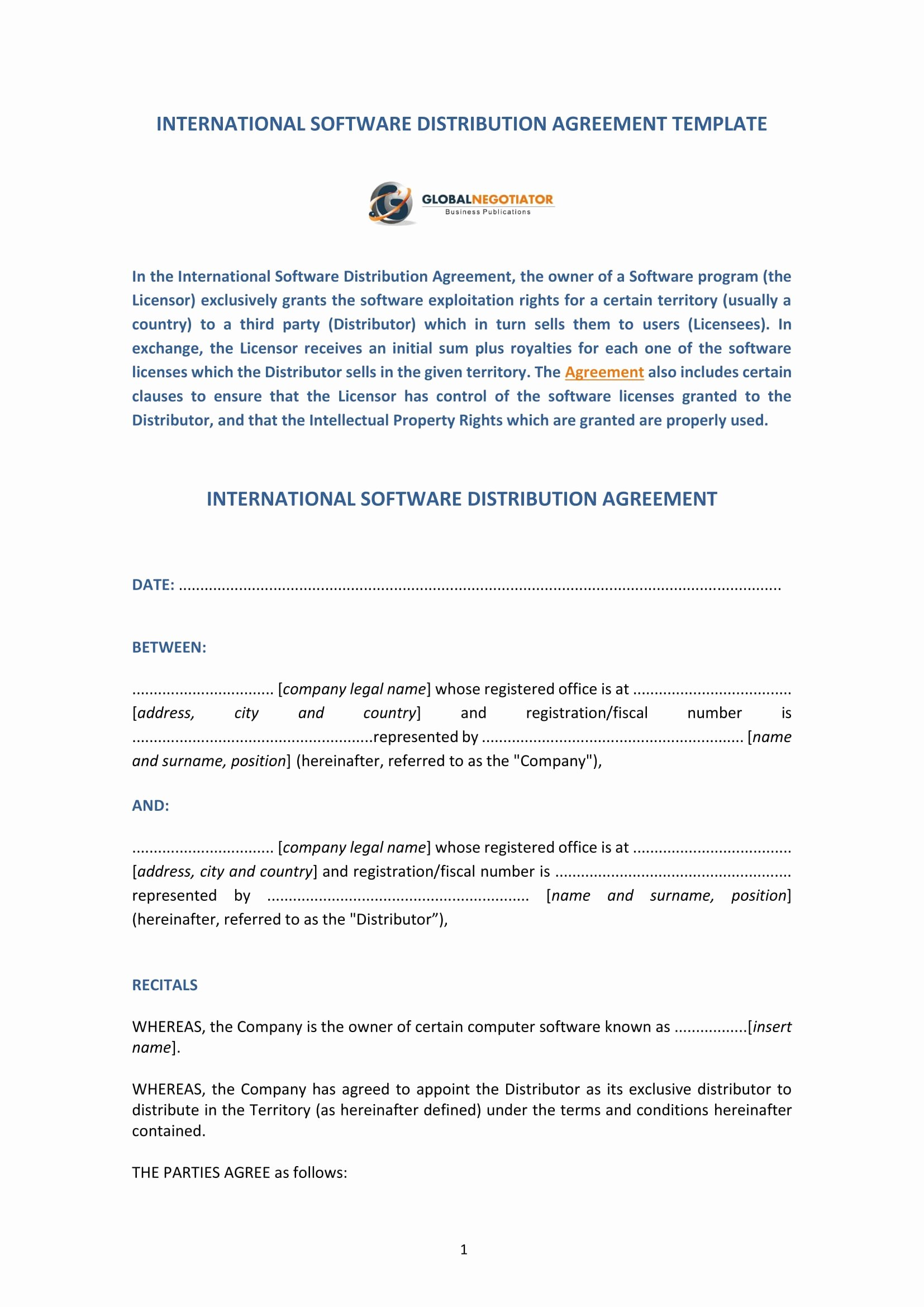 International Distribution Agreement Template Unique 4 software Distribution Agreement forms Pdf Word