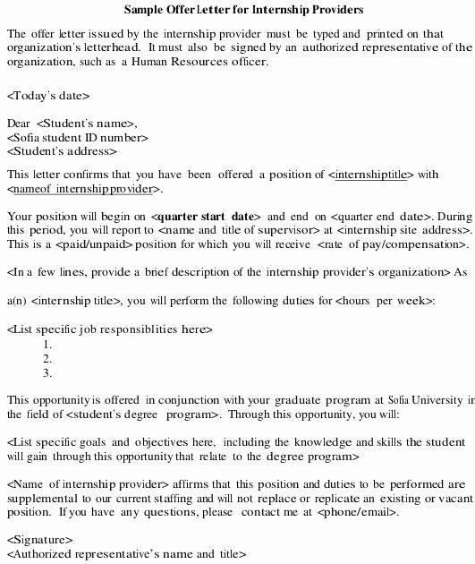 Internship Offer Letter Template Elegant 8 Internship Fer Letter Templates Pdf Doc