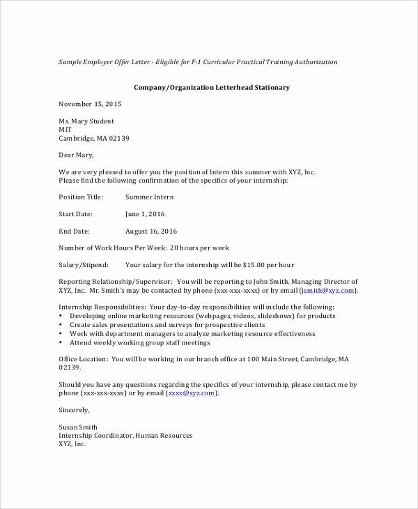 Internship Offer Letter Template Elegant 8 Sample Internship Fer Letters – Pdf Doc Apple Pages