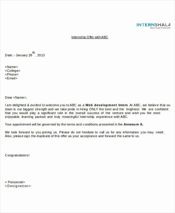 Internship Offer Letter Template Fresh Fer Letter Templates In Doc 46 Free Word Pdf