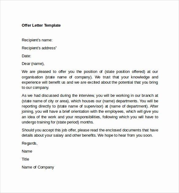 Internship Offer Letter Template Inspirational Sample Fer Letter Template 14 Free Examples format