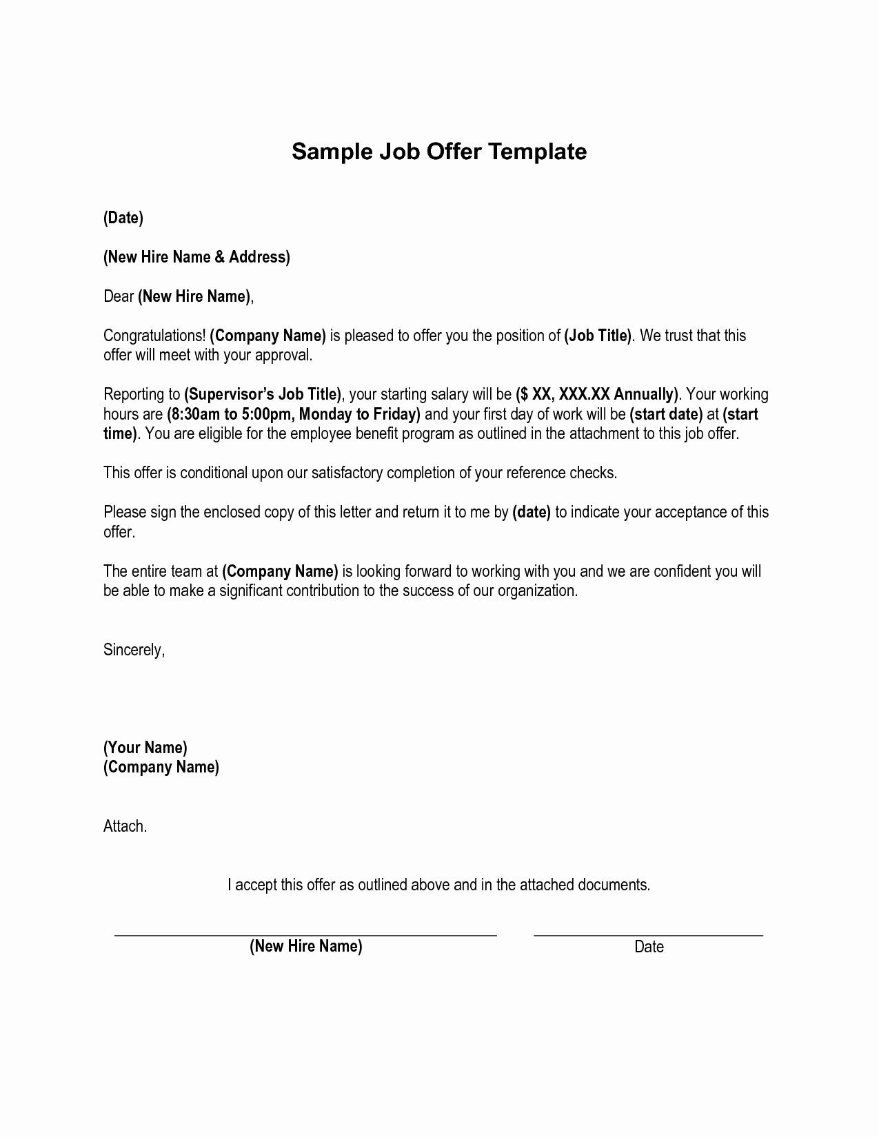 Internship Offer Letter Template Inspirational Sample Job Fer Letter