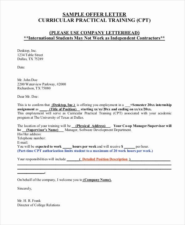 Internship Offer Letter Template Lovely Sample Fer Letter 10 Examples In Word Pdf
