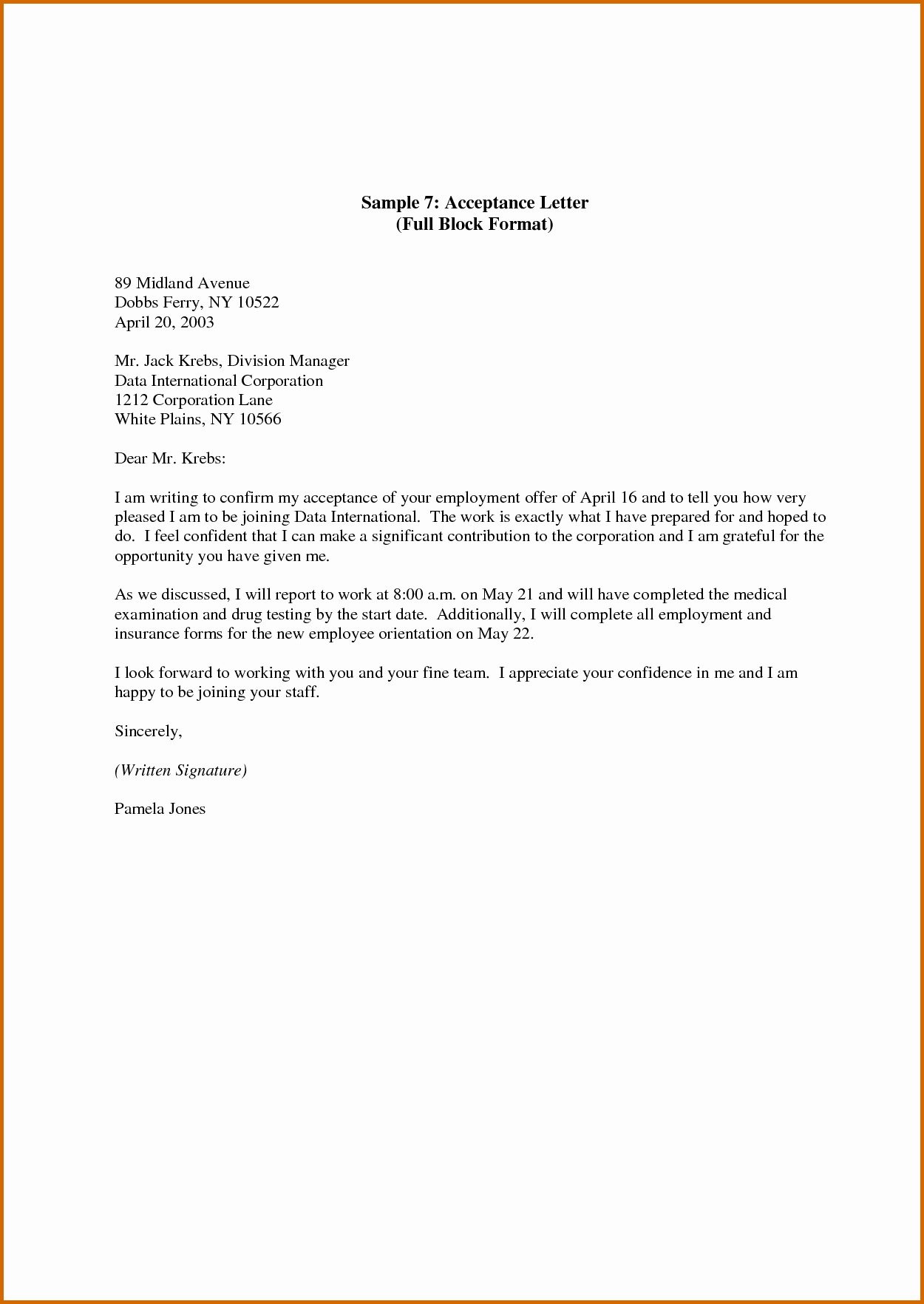 Internship Offer Letter Template New Lease Template