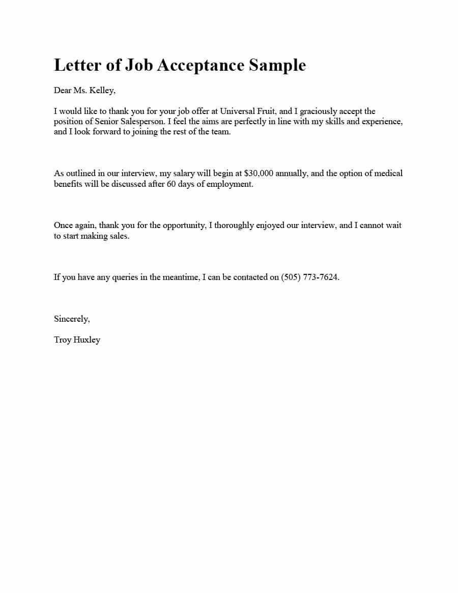 Internship Offer Letter Template Unique 40 Professional Job Fer Acceptance Letter & Email