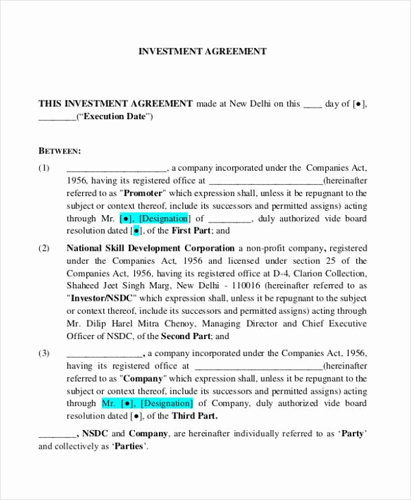 Investment Agreement Template Doc Awesome 16 Investment Contract Templates Google Docs Word