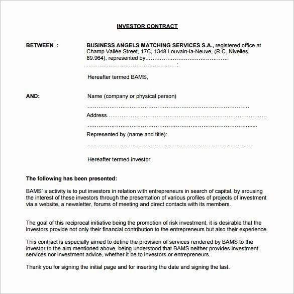 Investment Agreement Template Doc Awesome 9 Investment Contract Templates Pdf Doc