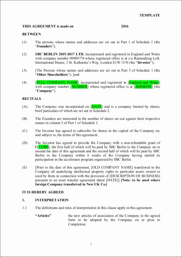 Investment Agreement Template Doc Fresh 9 Investment Contract Samples & Templates – Pdf Word