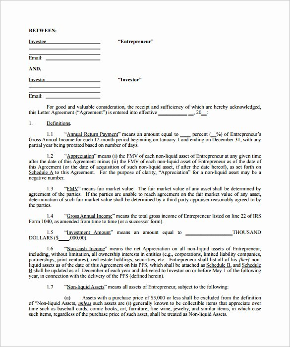 Investment Agreement Template Doc Fresh 9 Investment Contract Templates Pdf Doc