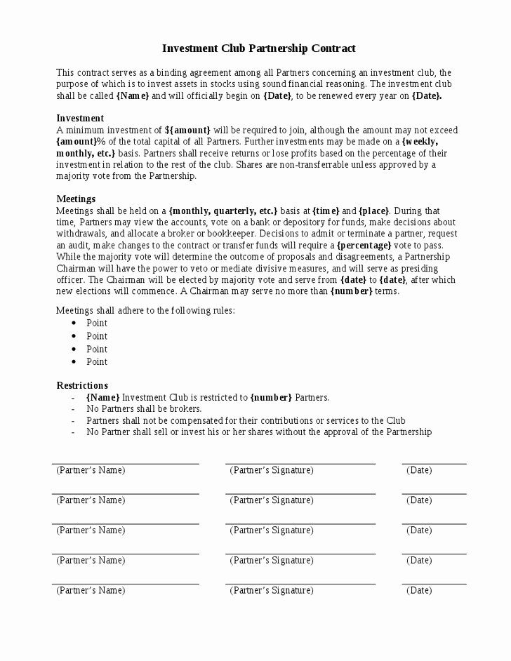 Investment Agreement Template Doc Inspirational Pany Investor Agreement Investors Template 10 Document