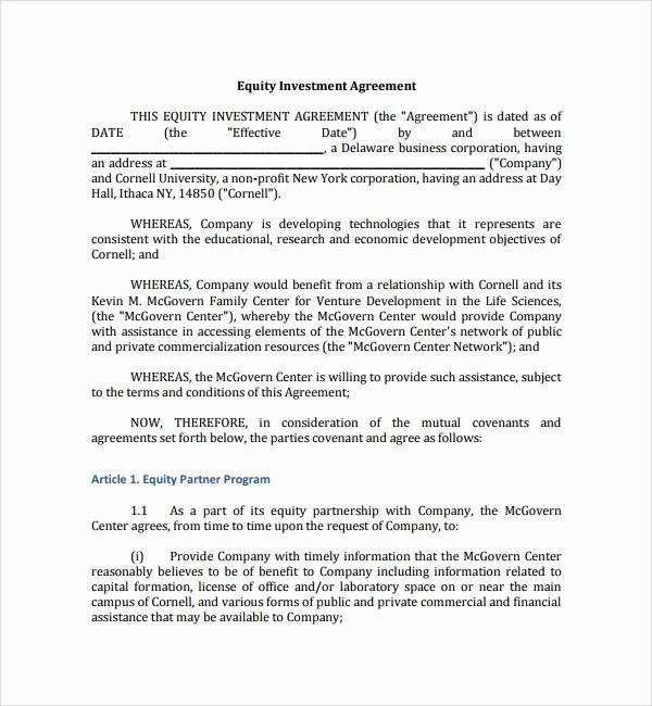 Investment Agreement Template Doc Luxury 12 Business Investment Agreements