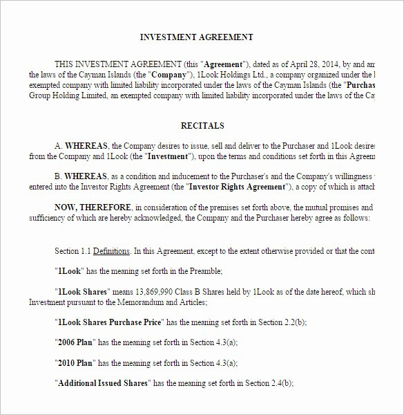 Investment Agreement Template Doc Luxury 9 Investment Contract Templates Pdf Doc