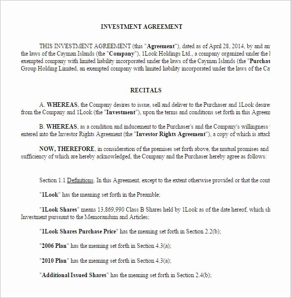 Investment Agreement Template Doc Luxury Investment Contract Templates Find Word Templates