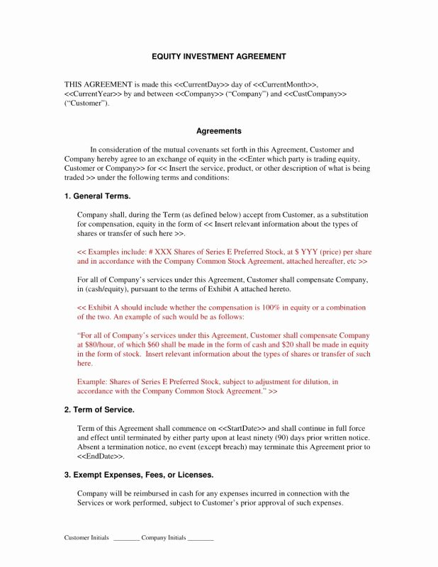 Investment Agreement Template Doc New Investment Agreement Template