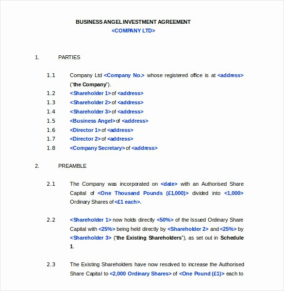 Investment Agreement Template Doc Unique Investment Agreement Template 13 Free Word Pdf