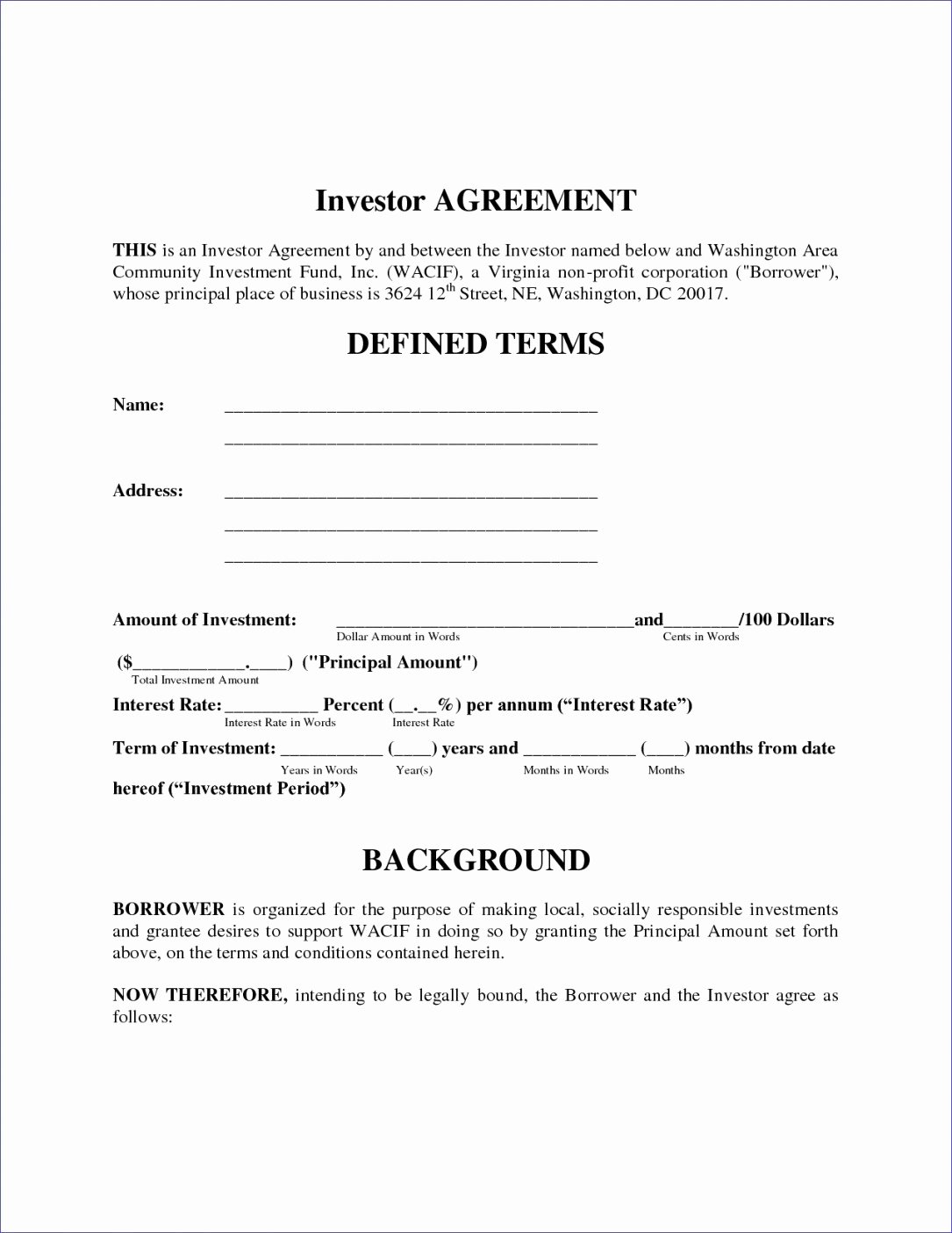 Investment Agreement Template Doc Unique Investors Contract Agreement Yogatreestudio