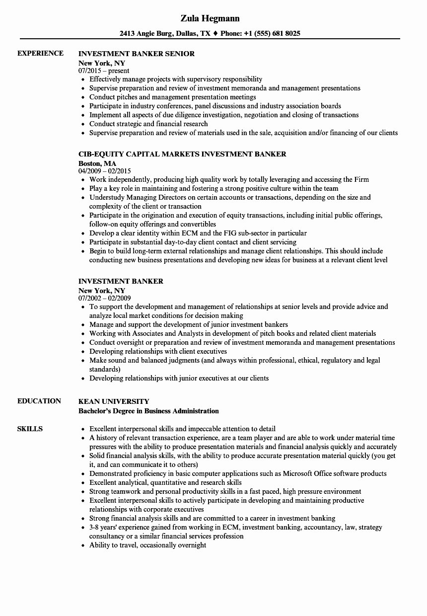Investment Banking Resume Template Awesome Investment Banker Resume Samples