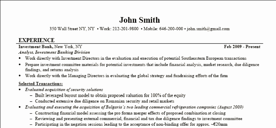 Investment Banking Resume Template Awesome Investment Banking Resume