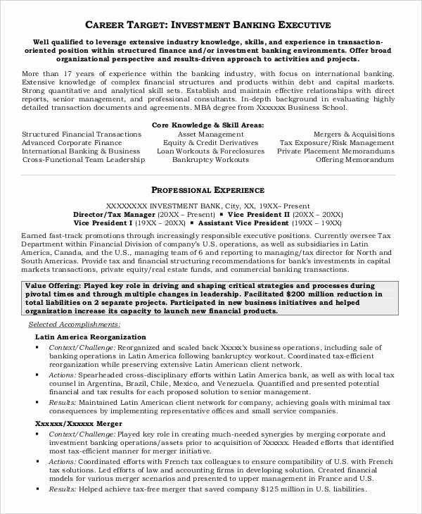 Investment Banking Resume Template Beautiful 20 Free Banking Resume Templates Pdf Doc