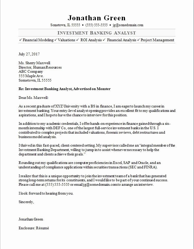 Investment Banking Resume Template Elegant Investment Banker Cover Letter Sample