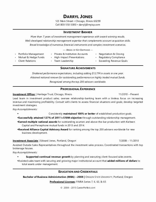 Investment Banking Resume Template Fresh Investment Banker Resume Sample