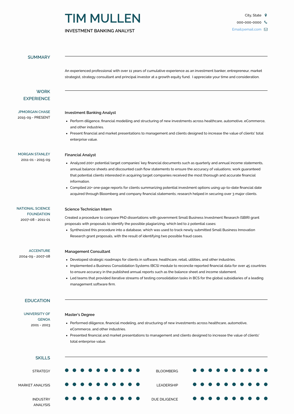 Investment Banking Resume Template Luxury Investment Banking Resume Samples & Templates