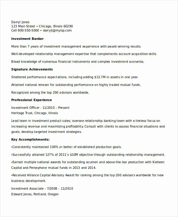 Investment Banking Resume Template New 18 Best Banking Resume Templates Pdf Doc