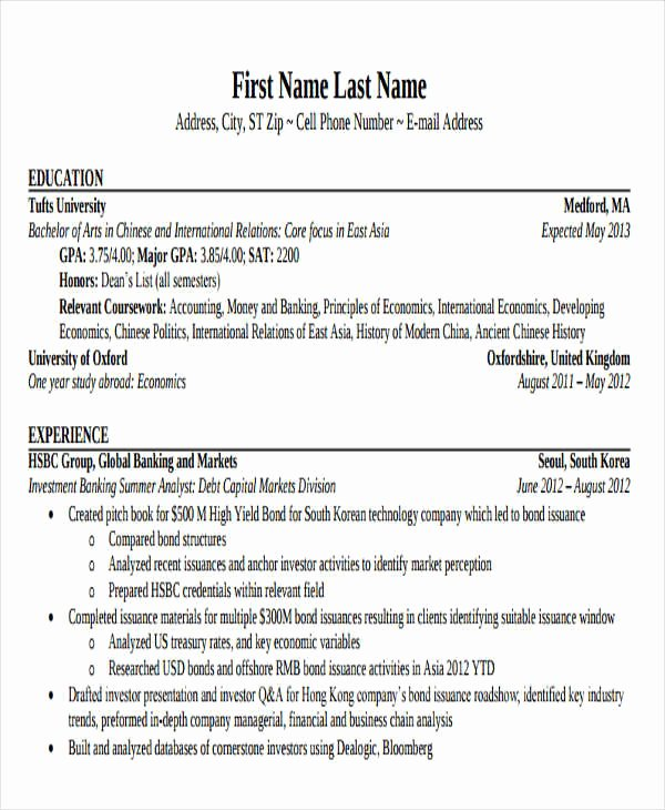 Investment Banking Resume Template Unique 21 Banking Resume Templates Pdf Doc