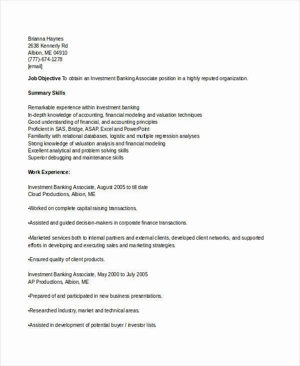 Investment Banking Resume Template Unique Banking Resume Samples 45 Free Word Pdf Documents