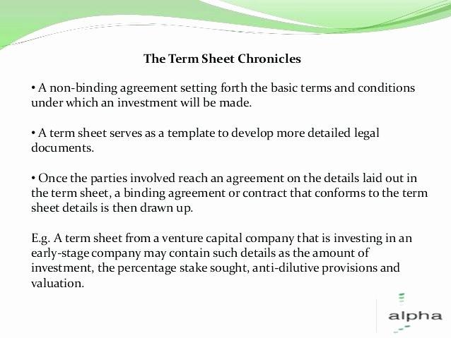 Investment Term Sheet Template Beautiful Contract Term Sheet Template Non Binding Term Sheet