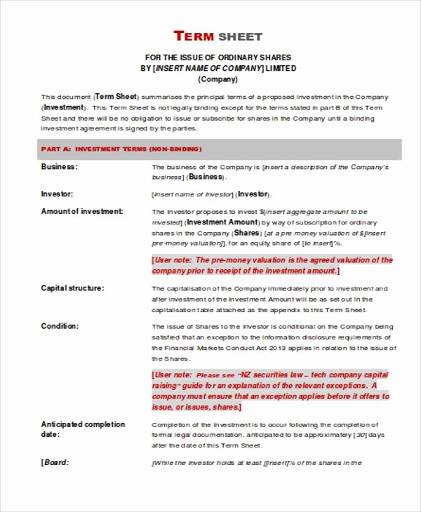 Investment Term Sheet Template Inspirational Investment Sheet Templates 4 Free Pdf format Download