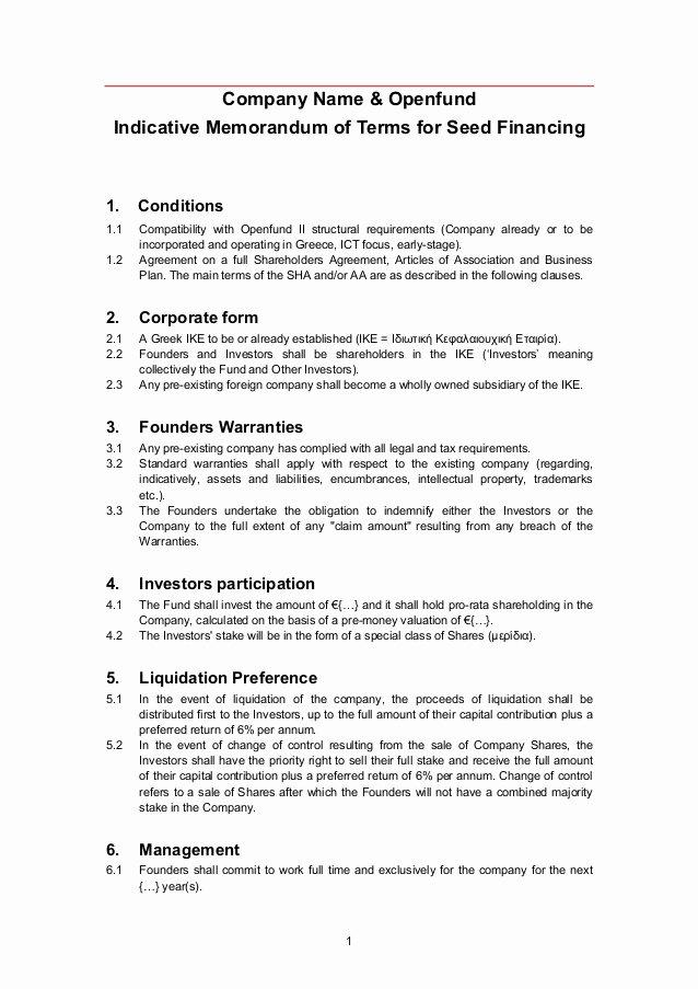Investment Term Sheet Template New Openfund Term Sheet Template