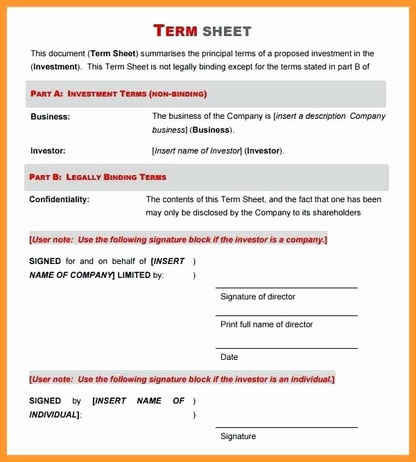 Investment Term Sheet Template Unique Joint Venture Letter Intent Template Template Joint