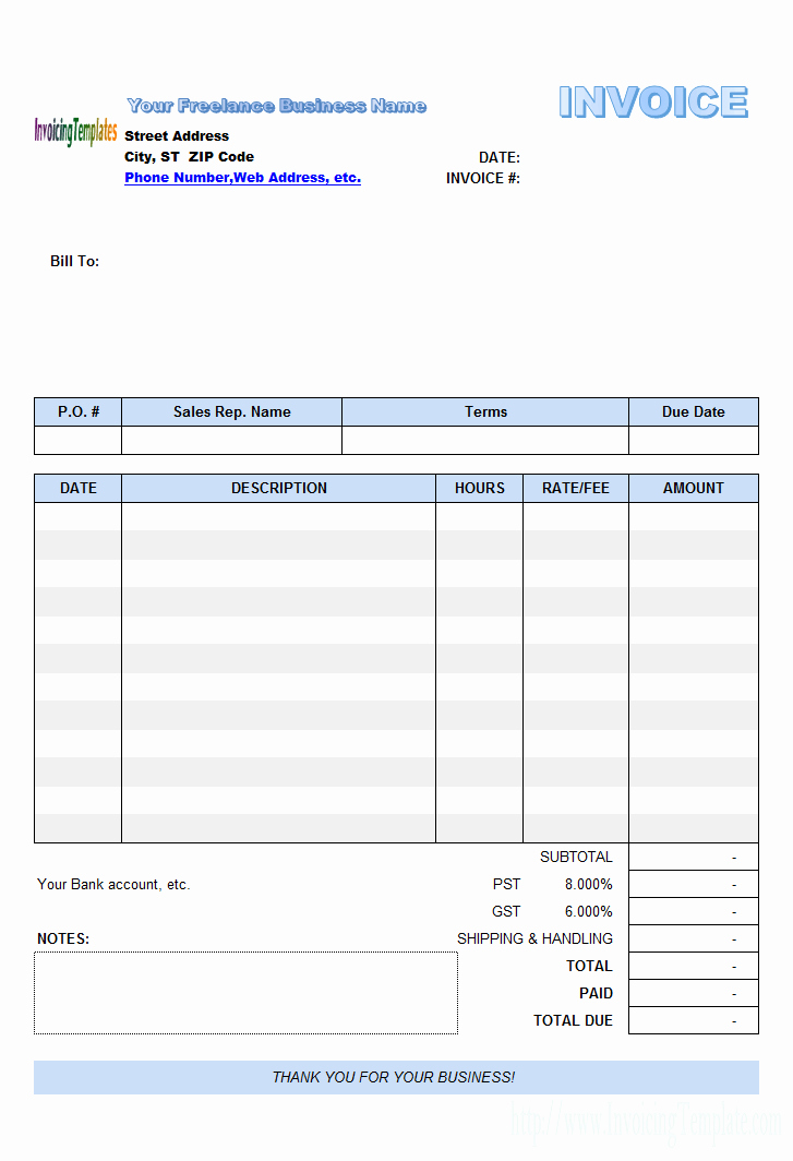 Invoice Template for Freelance Luxury Freelance Invoice Template Excel