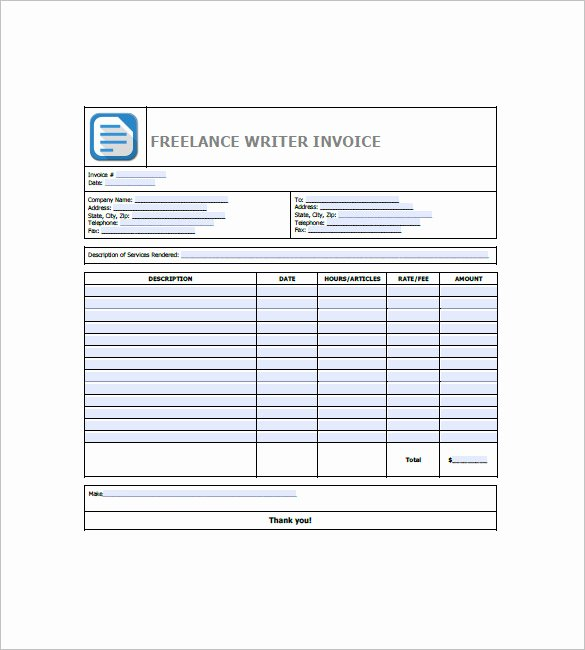Invoice Template for Freelance New Freelancer Invoice Template 13 Free Word Excel Pdf