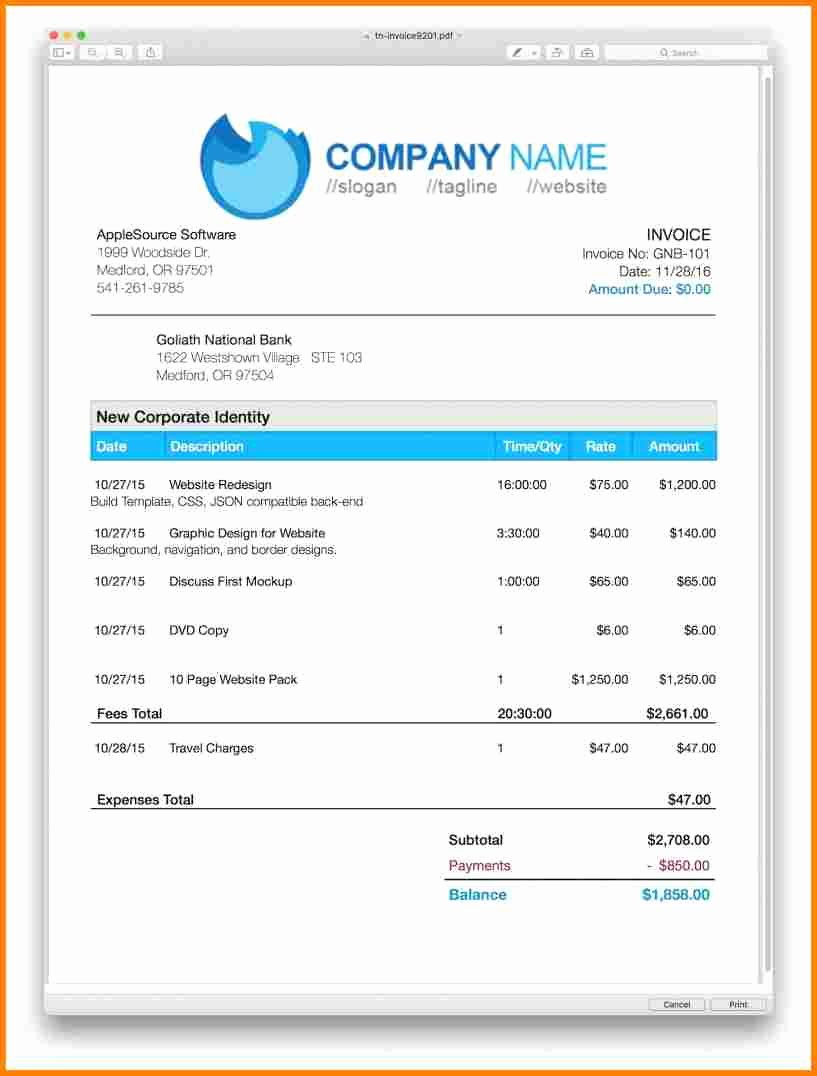 Invoice Template for Mac Elegant 7 Invoice Templates for Mac