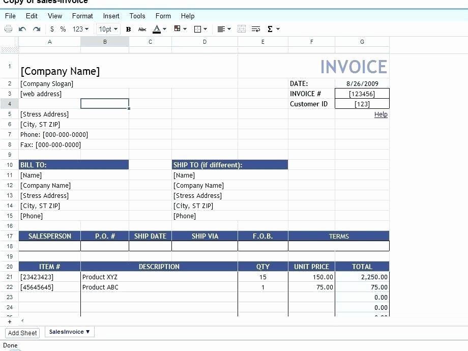 Invoice Template Google Sheets New Google Documents Invoice Template Sheet Warm Professional