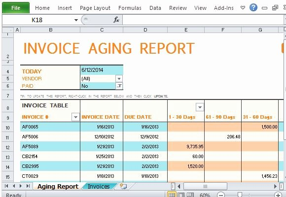 Invoice Tracking Template Excel New Invoice Aging Report Excel Template